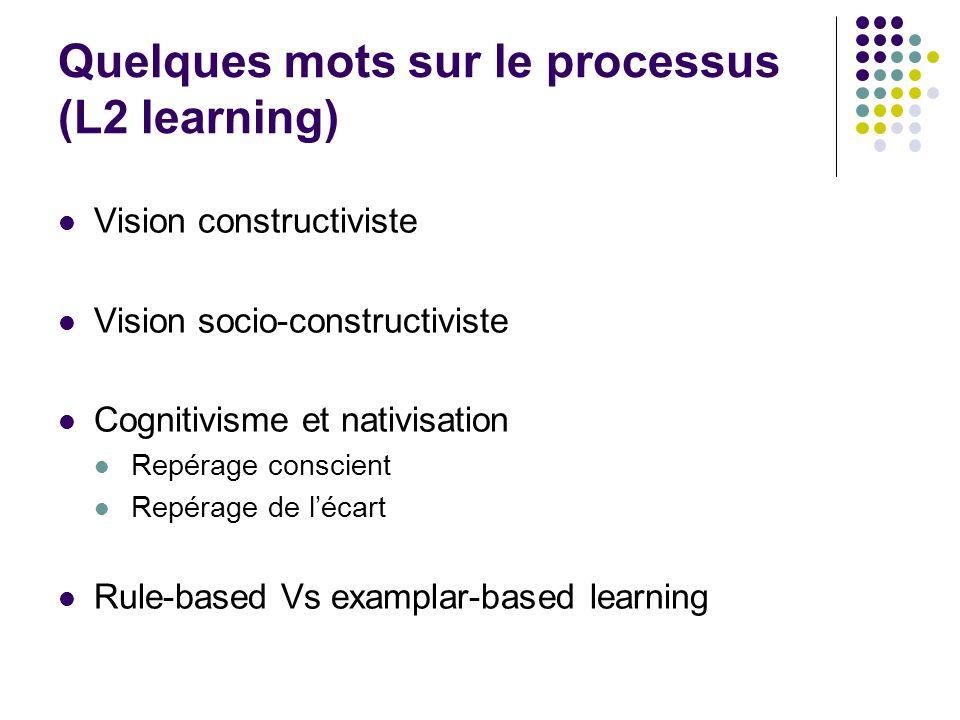 Quelques mots sur le processus (L2 learning)