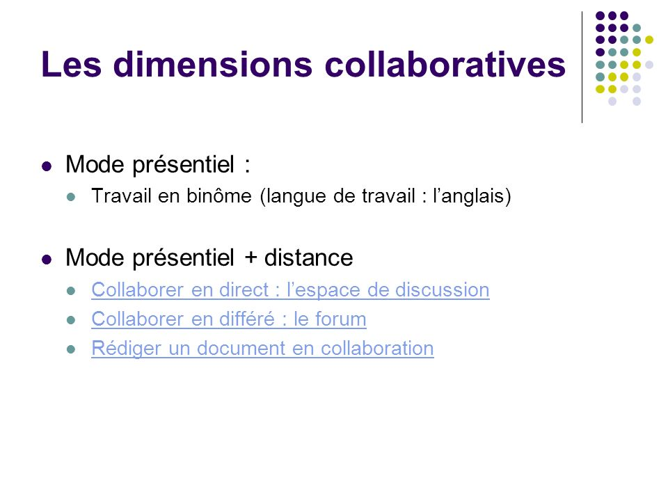 Les dimensions collaboratives