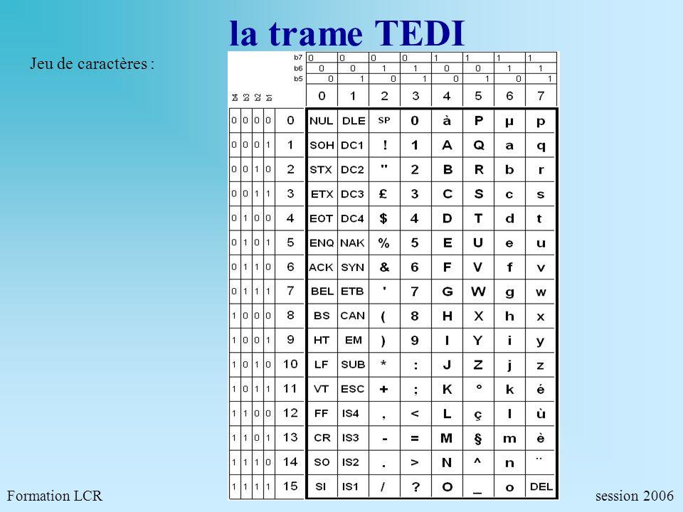 la trame TEDI Jeu de caractères : Formation LCR session 2006.