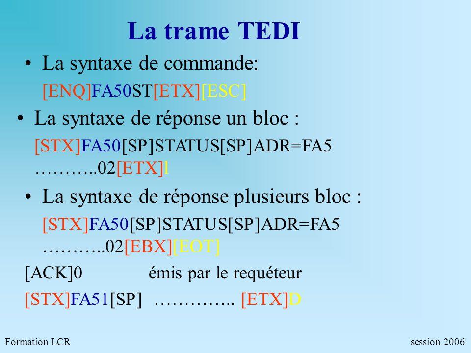 La trame TEDI La syntaxe de commande: La syntaxe de réponse un bloc :