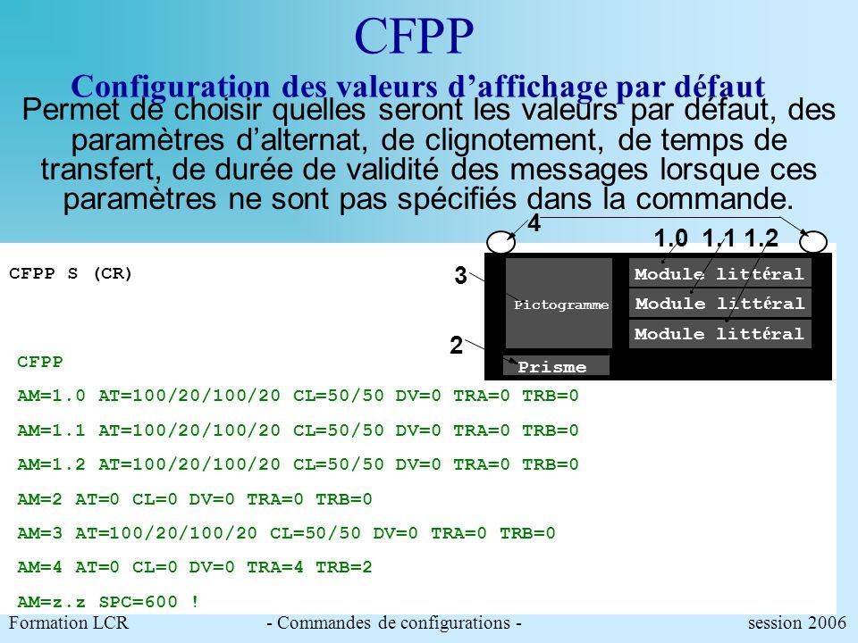 CFPP Configuration des valeurs d'affichage par défaut