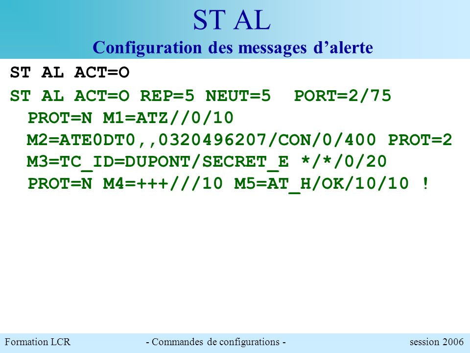 ST AL Configuration des messages d'alerte