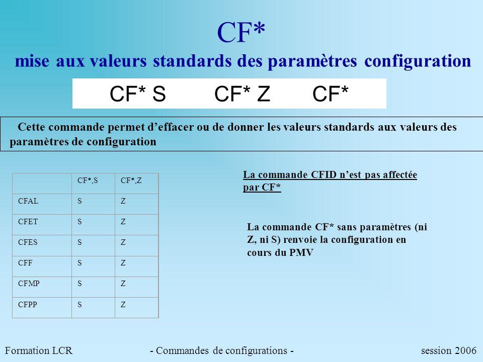 CF* mise aux valeurs standards des paramètres configuration