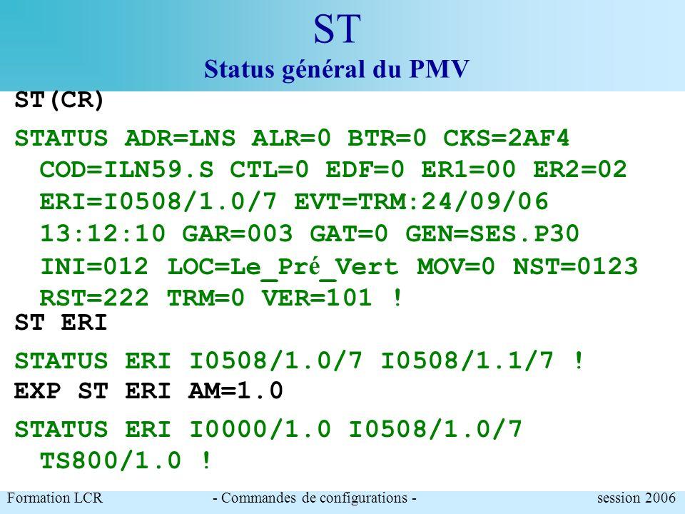 ST Status général du PMV