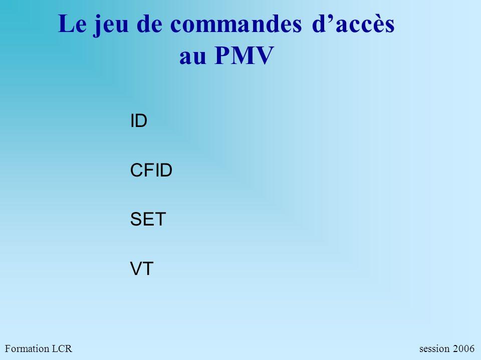 Le jeu de commandes d'accès au PMV
