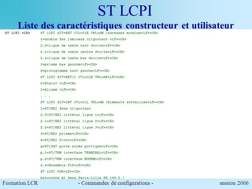 ST LCPI Liste des caractéristiques constructeur et utilisateur