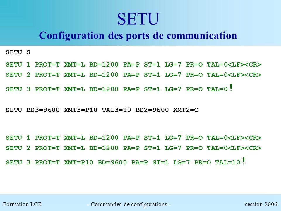 SETU Configuration des ports de communication