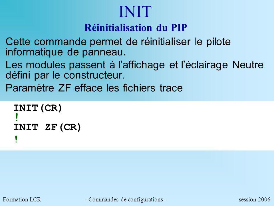INIT Réinitialisation du PIP
