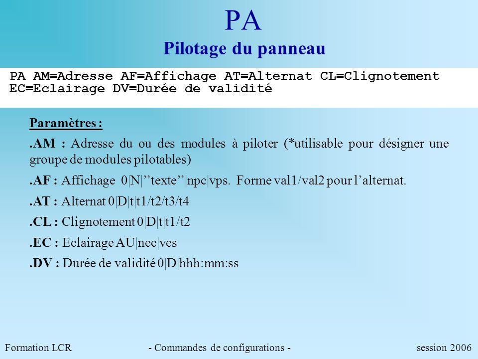 PA Pilotage du panneau PA AM=Adresse AF=Affichage AT=Alternat CL=Clignotement EC=Eclairage DV=Durée de validité.