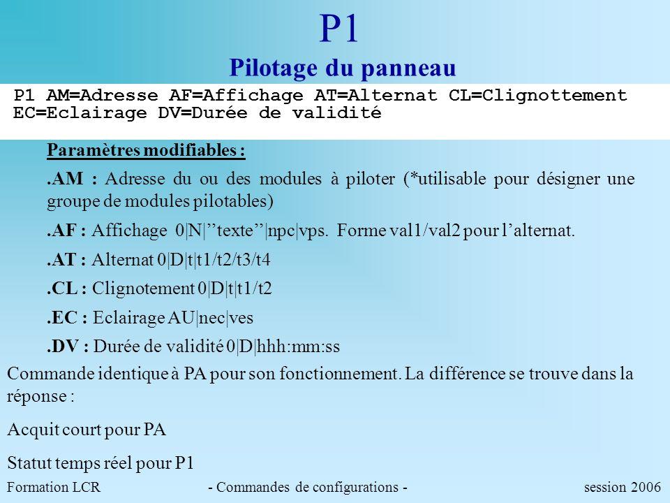 P1 Pilotage du panneau P1 AM=Adresse AF=Affichage AT=Alternat CL=Clignottement EC=Eclairage DV=Durée de validité.