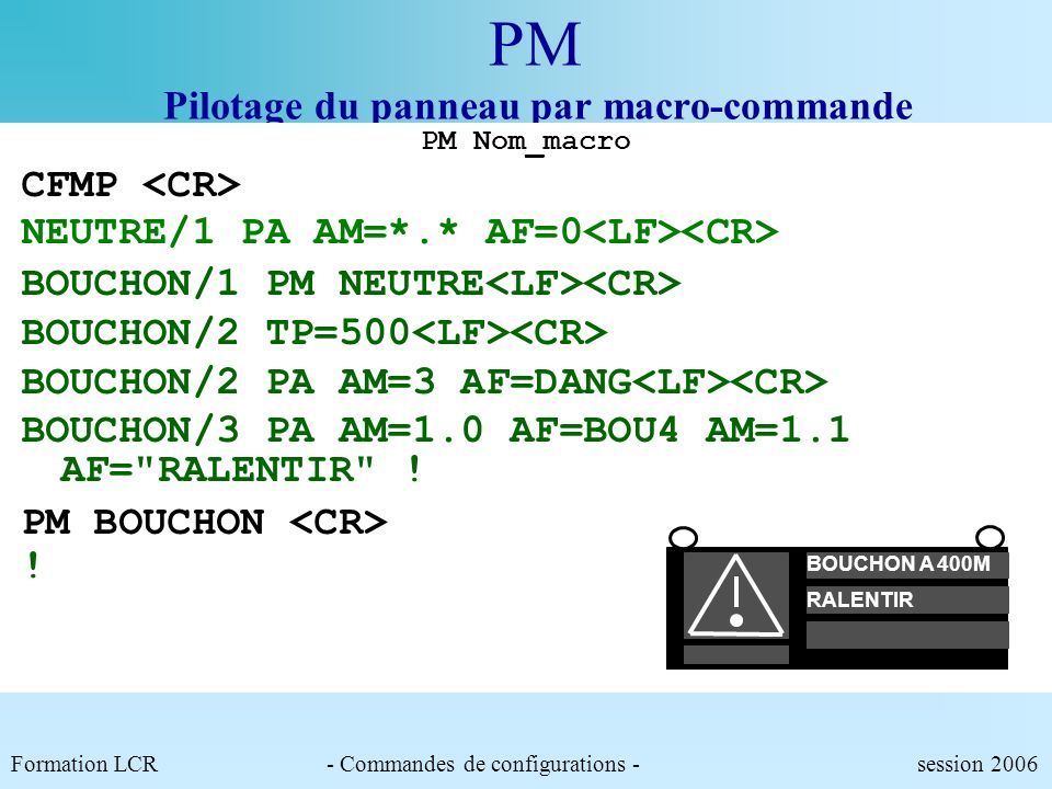 PM Pilotage du panneau par macro-commande