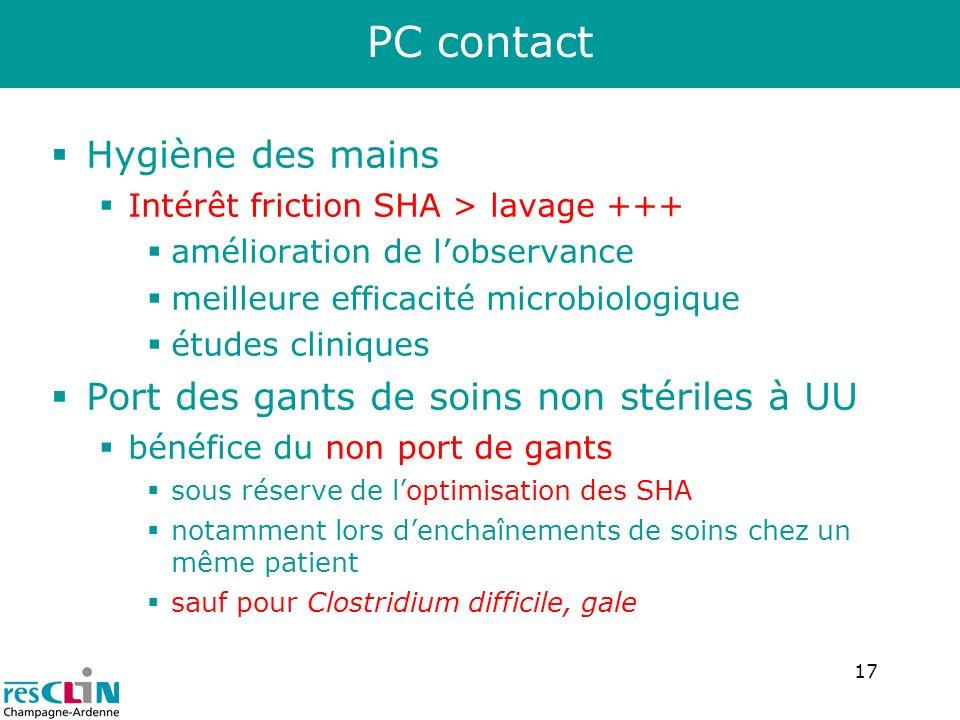 PC contact Hygiène des mains Port des gants de soins non stériles à UU
