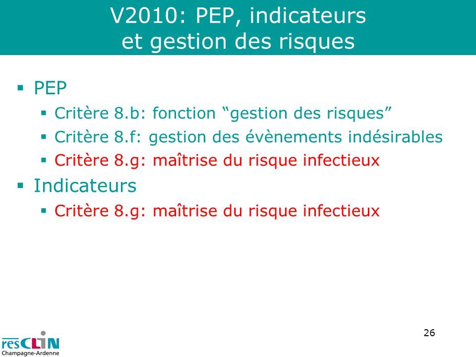 V2010: PEP, indicateurs et gestion des risques