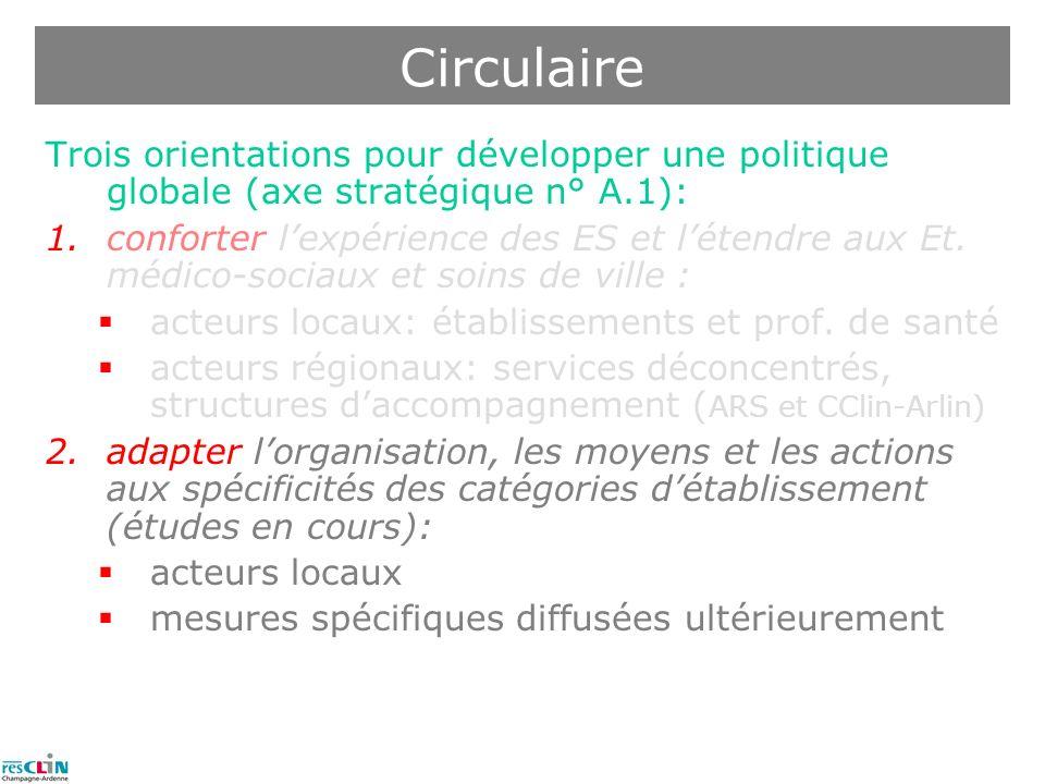Circulaire Trois orientations pour développer une politique globale (axe stratégique n° A.1):