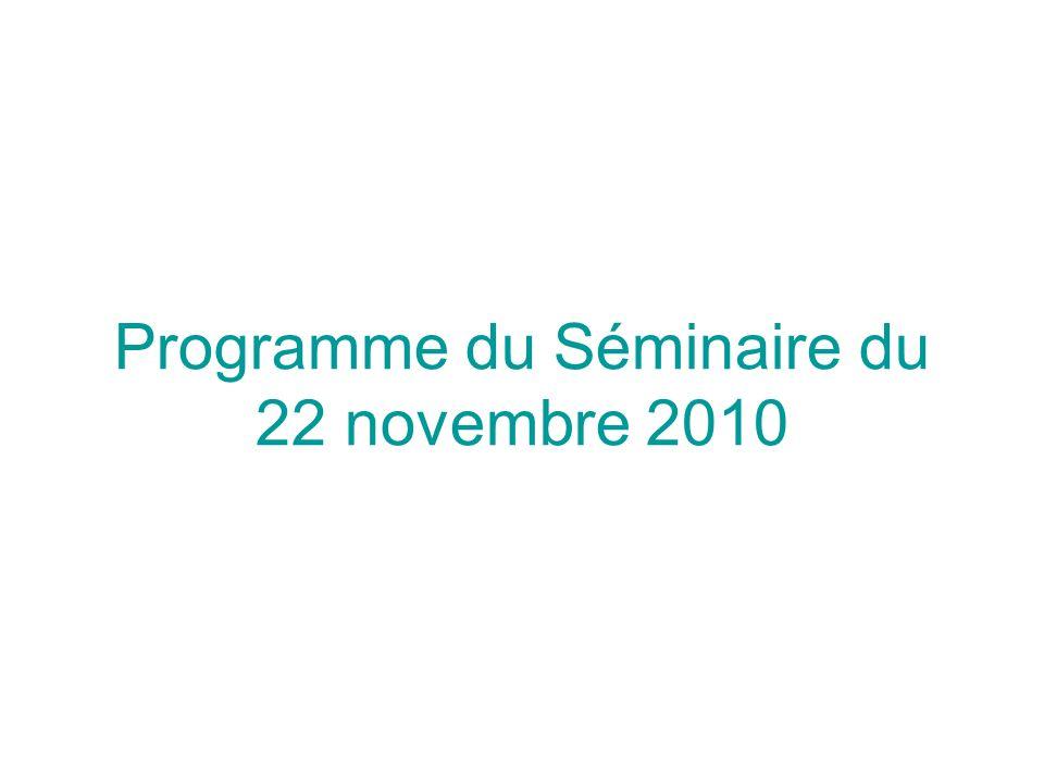 Programme du Séminaire du 22 novembre 2010