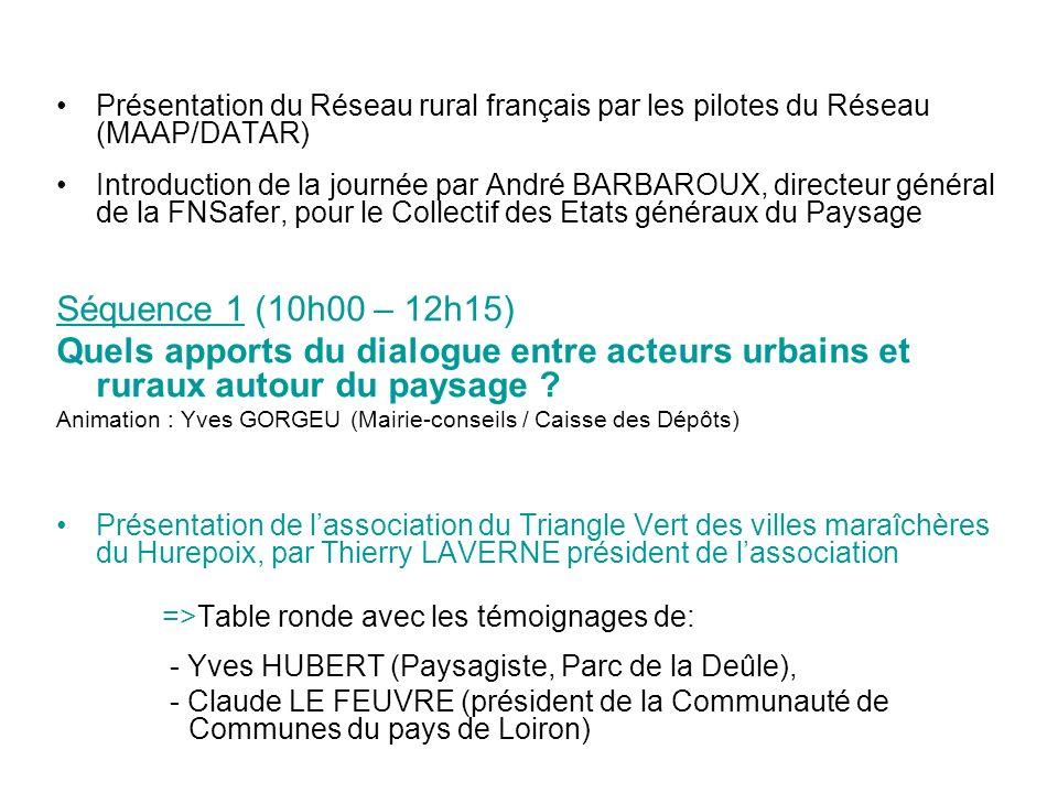 Présentation du Réseau rural français par les pilotes du Réseau (MAAP/DATAR)