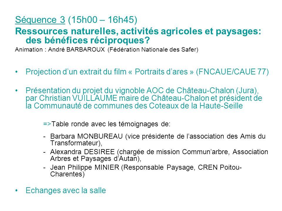 Séquence 3 (15h00 – 16h45) Ressources naturelles, activités agricoles et paysages: des bénéfices réciproques