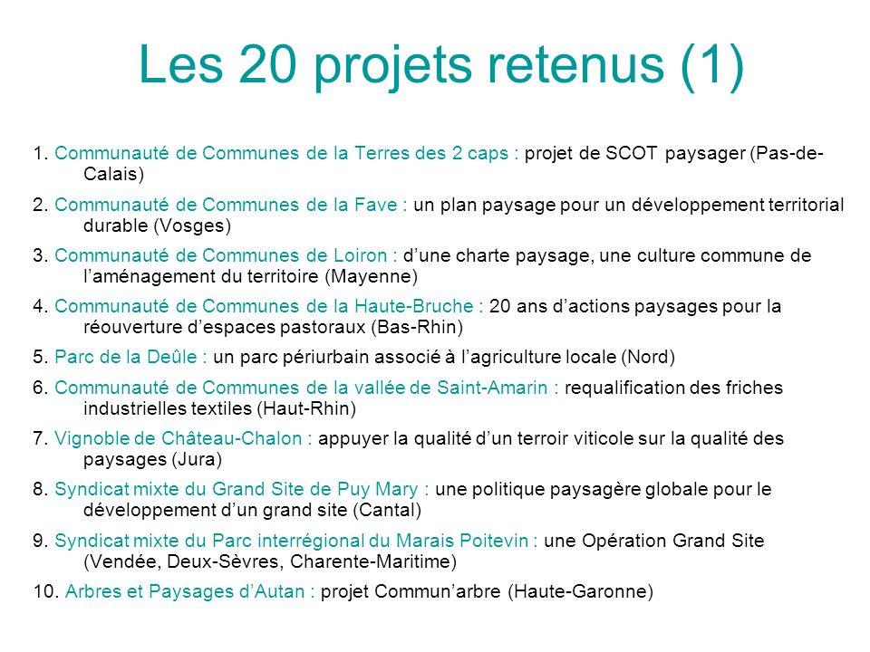 Les 20 projets retenus (1) 1. Communauté de Communes de la Terres des 2 caps : projet de SCOT paysager (Pas-de-Calais)