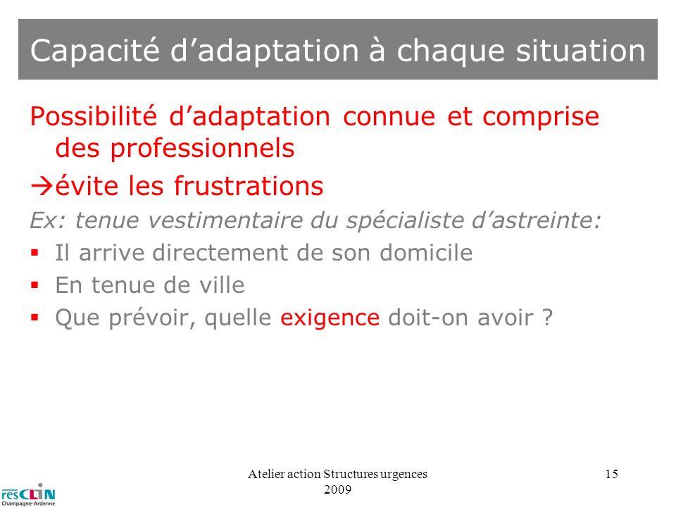 Capacité d'adaptation à chaque situation