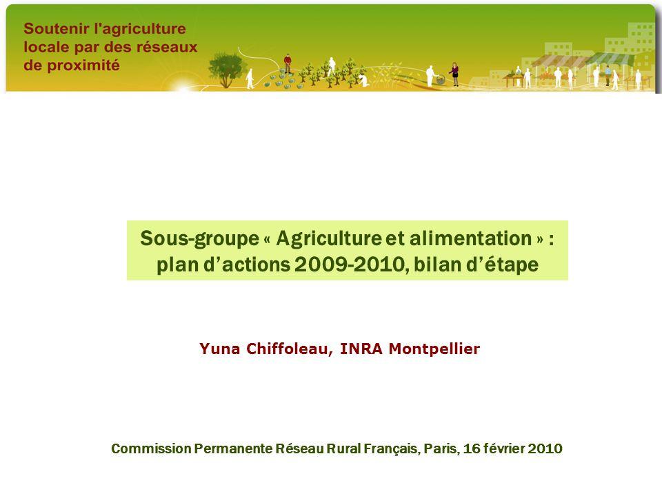 Sous-groupe « Agriculture et alimentation » : plan d'actions 2009-2010, bilan d'étape