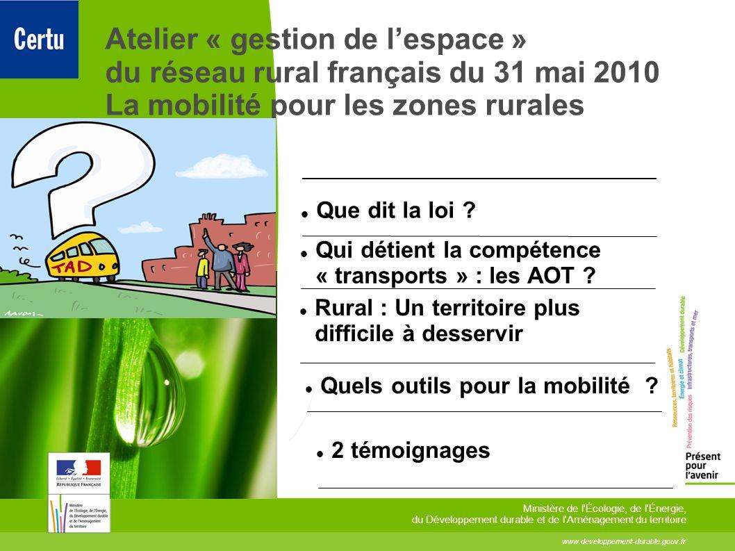 toitototototootAtelier « gestion de l'espace » du réseau rural français du 31 mai 2010 La mobilité pour les zones rurales.