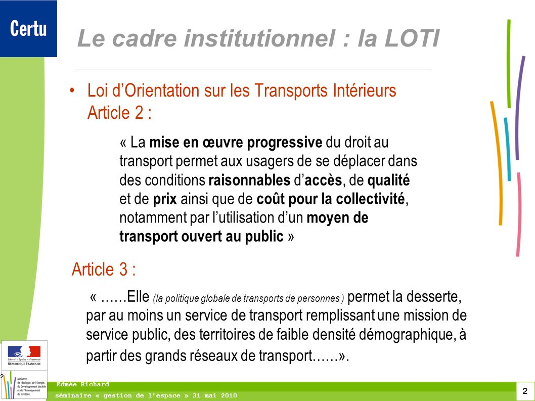 Le cadre institutionnel : la LOTI