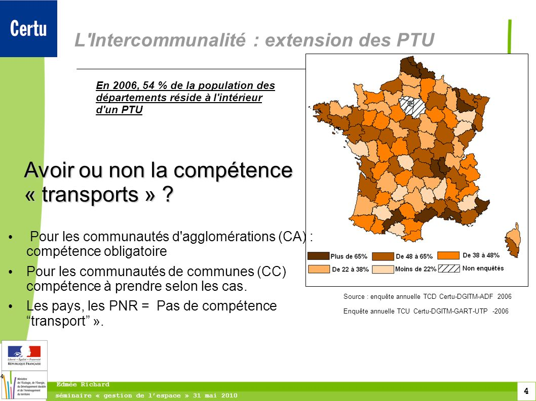 L Intercommunalité : extension des PTU