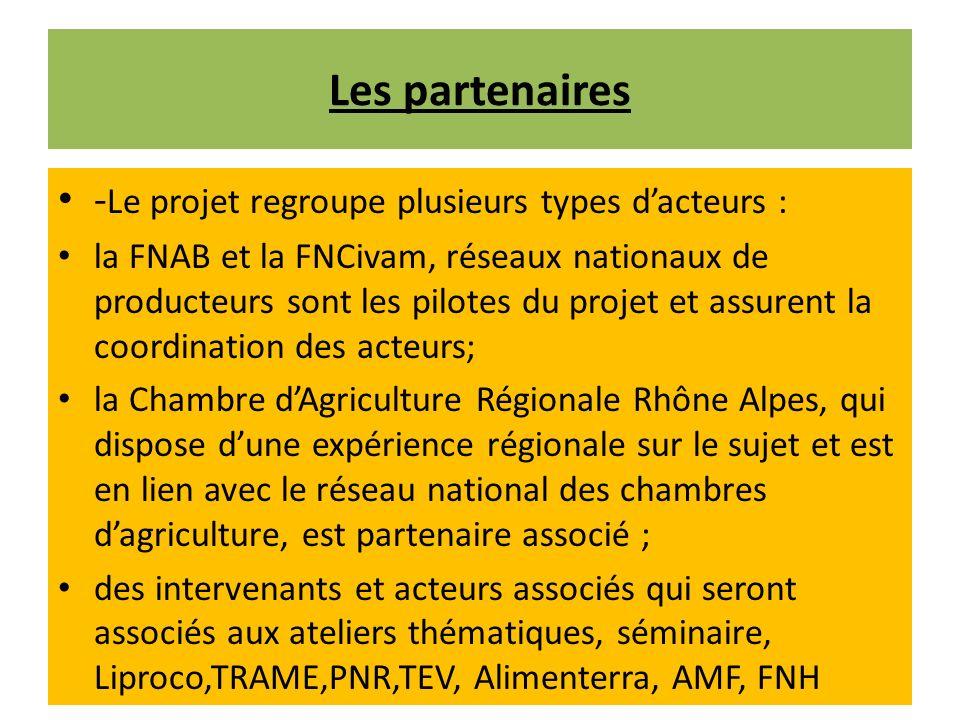 Les partenaires -Le projet regroupe plusieurs types d'acteurs :