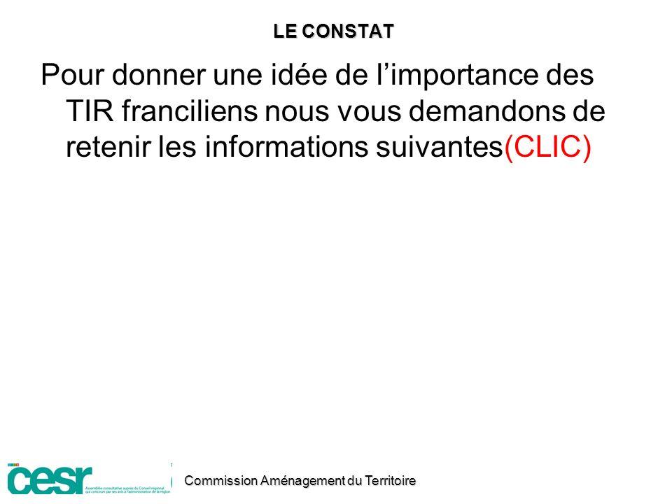 LE CONSTAT Pour donner une idée de l'importance des TIR franciliens nous vous demandons de retenir les informations suivantes(CLIC)