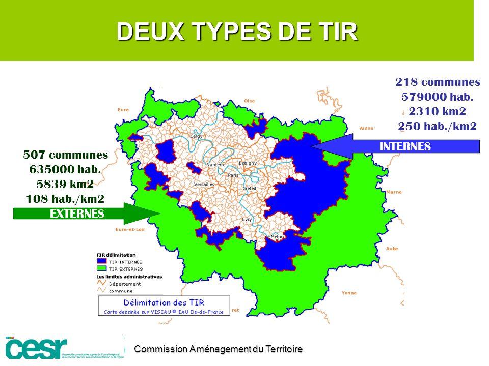 DEUX TYPES DE TIR 218 communes 579000 hab. 2310 km2 250 hab./km2