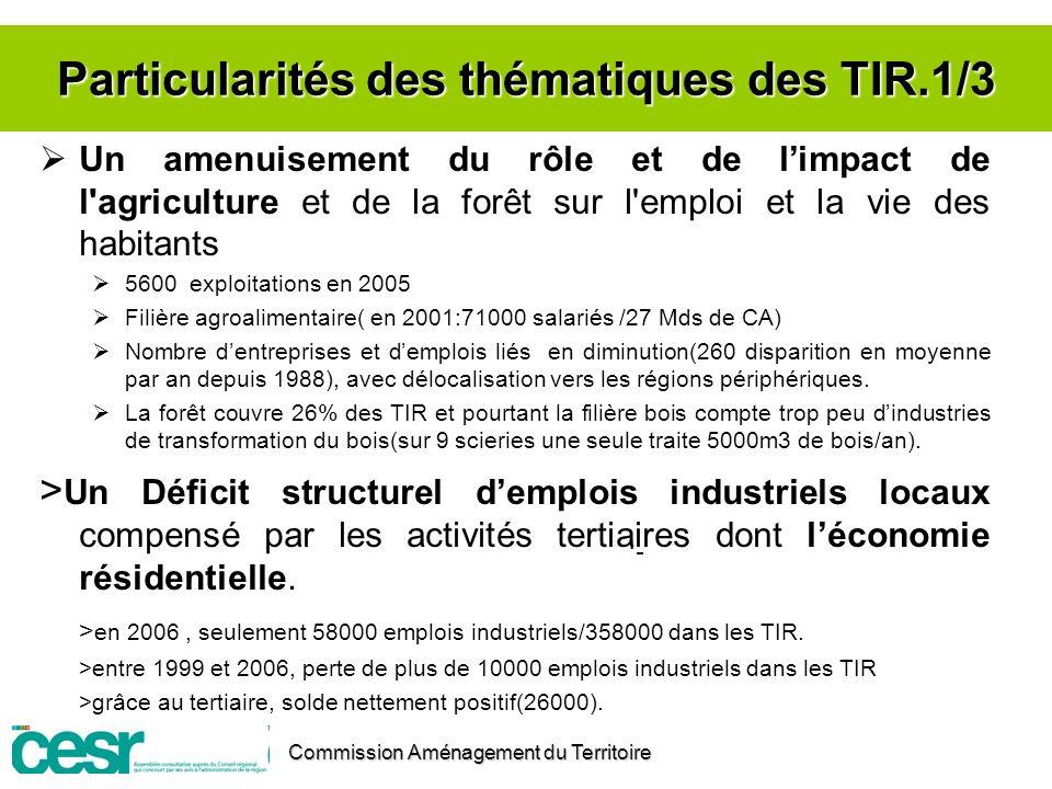 Particularités des thématiques des TIR.1/3