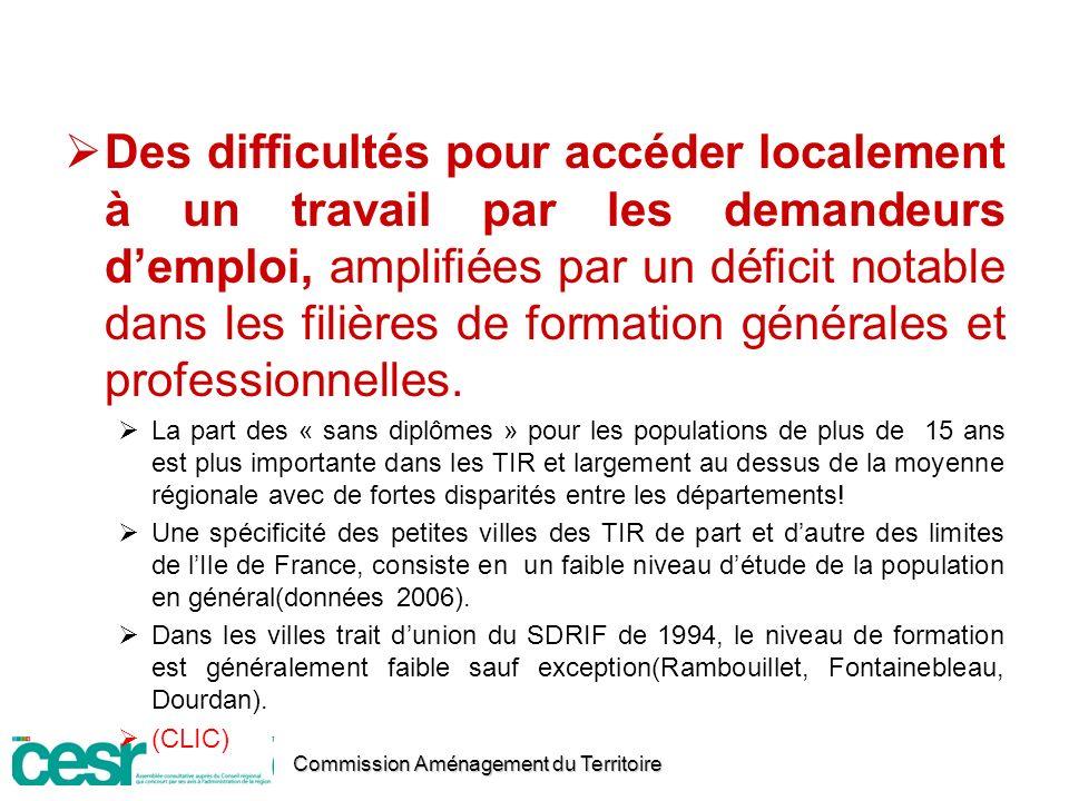 Des difficultés pour accéder localement à un travail par les demandeurs d'emploi, amplifiées par un déficit notable dans les filières de formation générales et professionnelles.