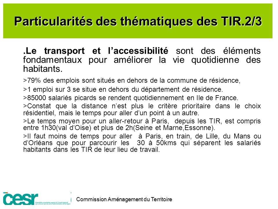 Particularités des thématiques des TIR.2/3