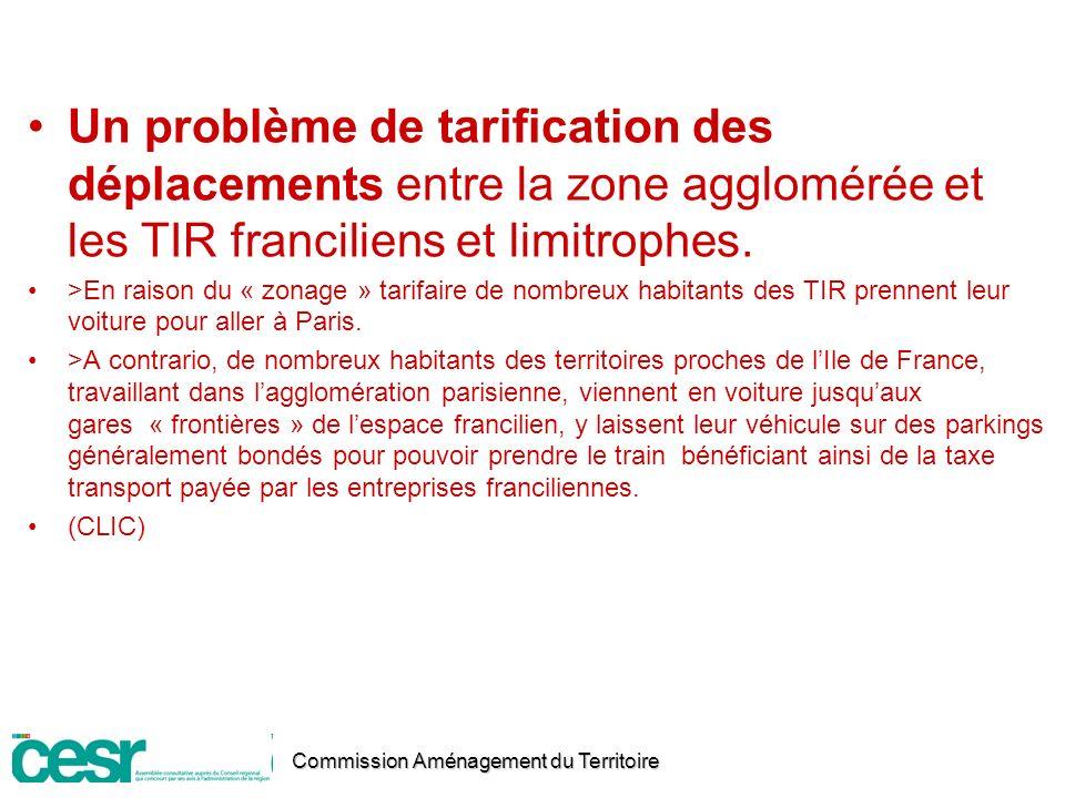 Un problème de tarification des déplacements entre la zone agglomérée et les TIR franciliens et limitrophes.