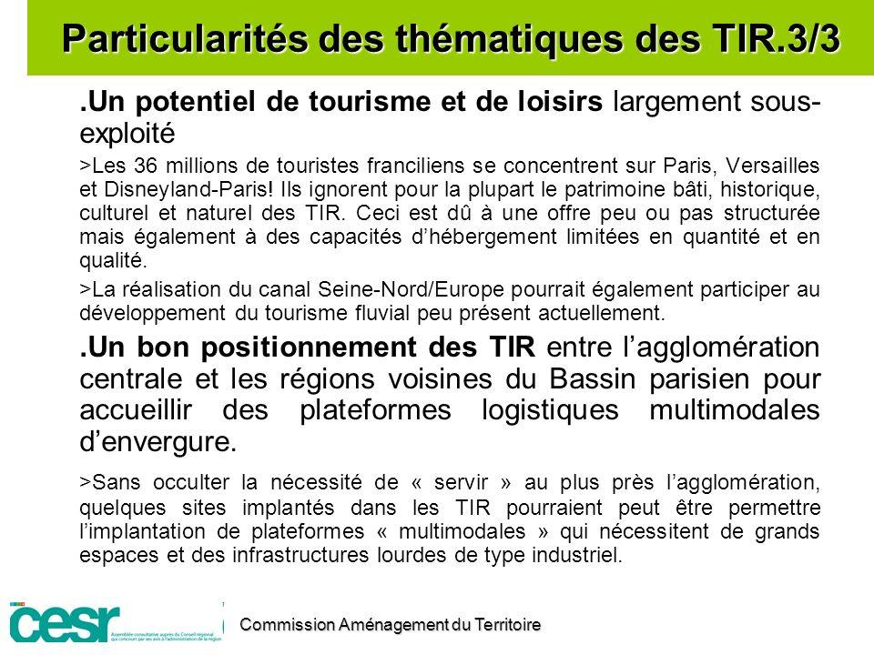 Particularités des thématiques des TIR.3/3