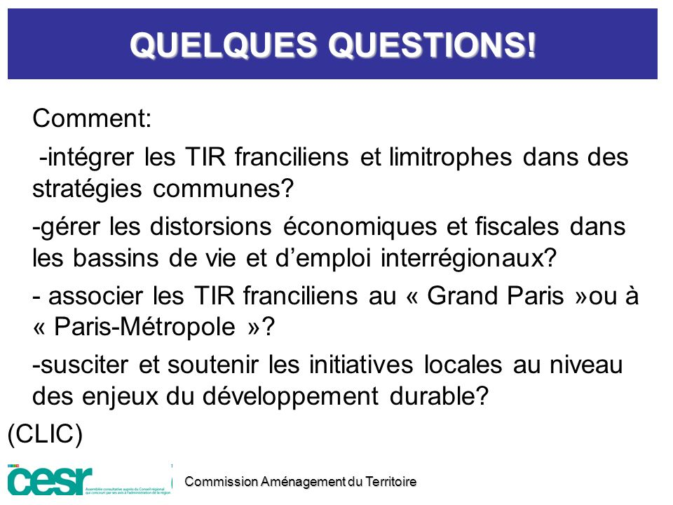 QUELQUES QUESTIONS! Comment:
