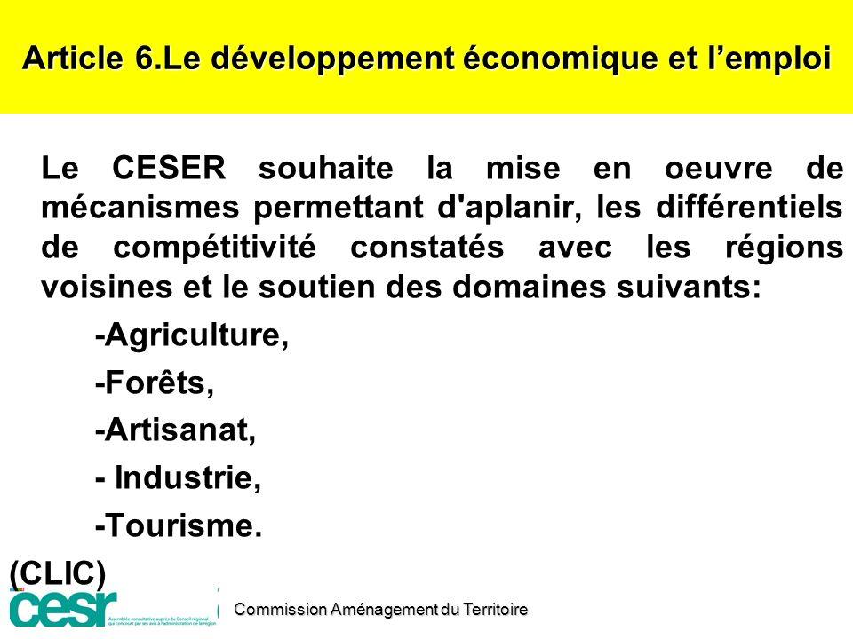 Article 6.Le développement économique et l'emploi