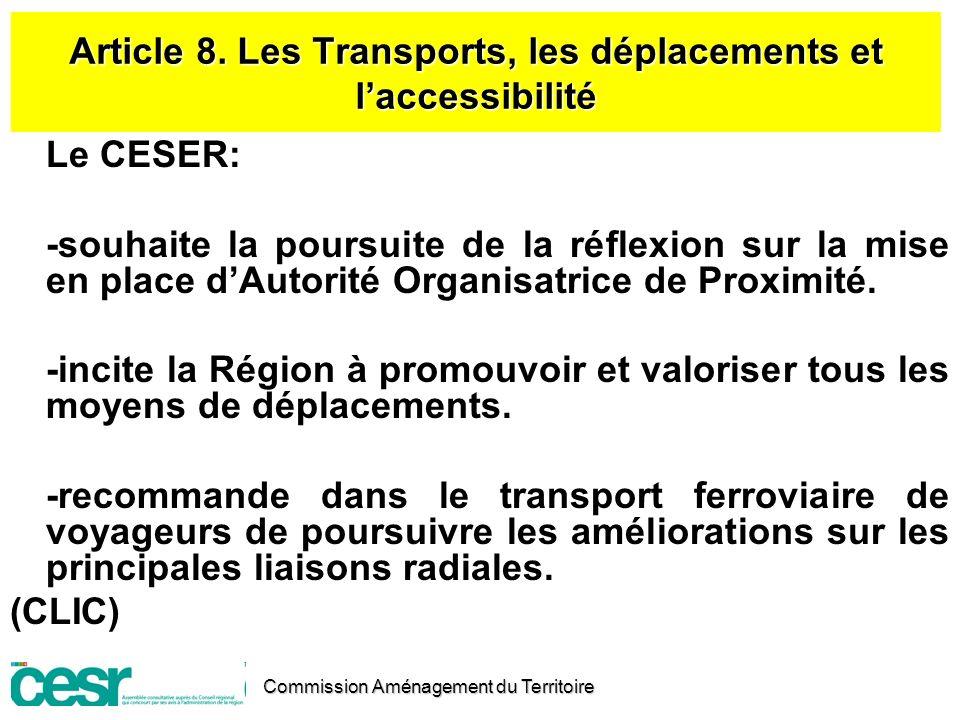 Article 8. Les Transports, les déplacements et l'accessibilité
