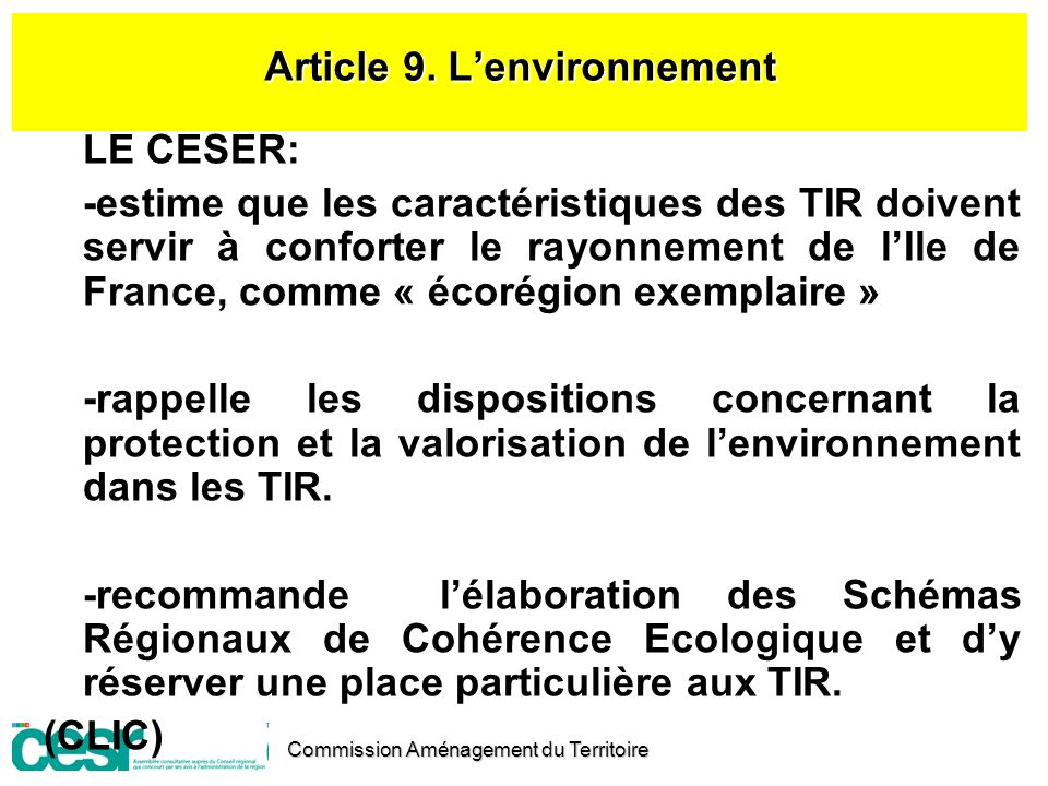 Article 9. L'environnement