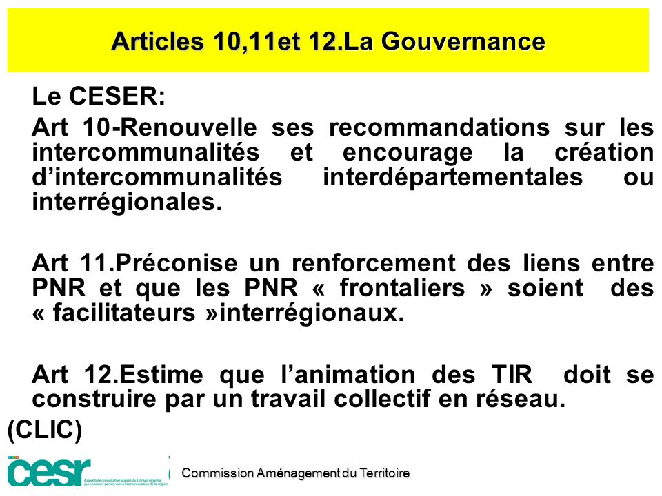 Articles 10,11et 12.La Gouvernance