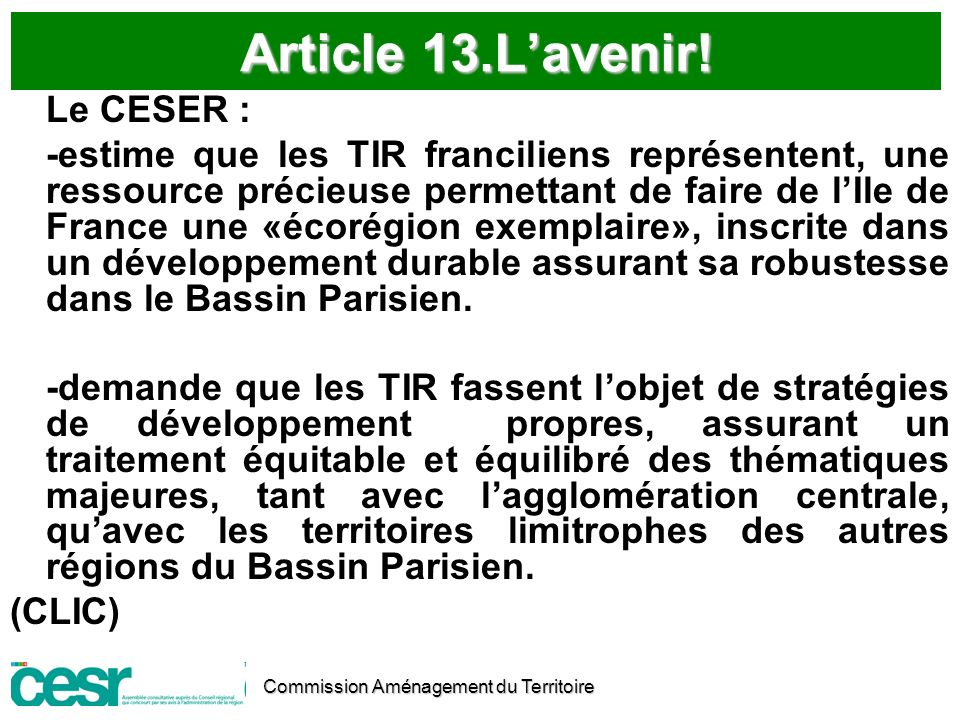 Article 13.L'avenir! Le CESER :