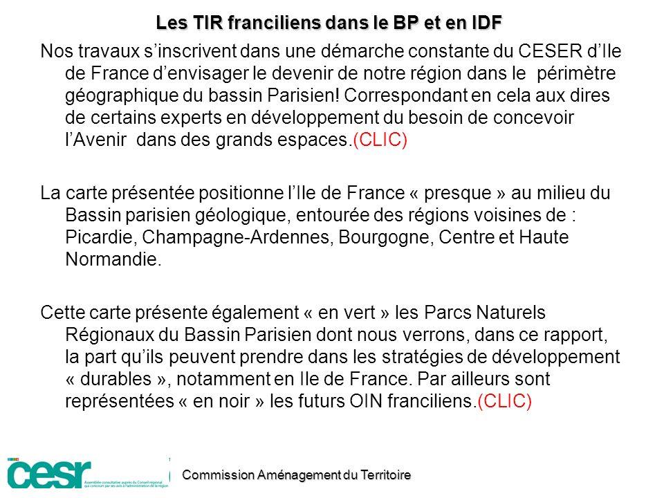 Les TIR franciliens dans le BP et en IDF