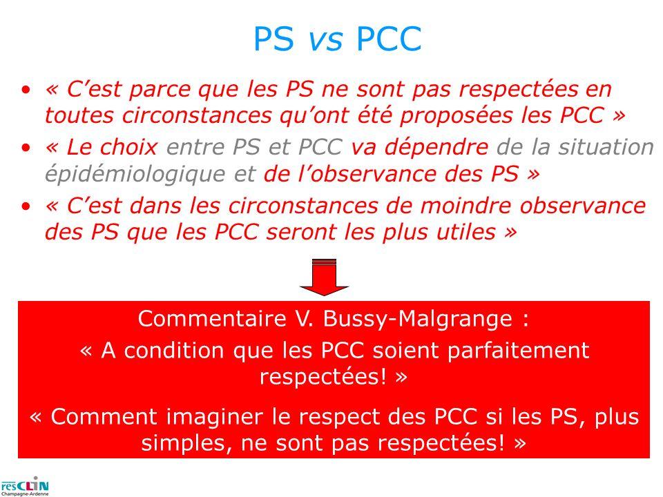 PS vs PCC « C'est parce que les PS ne sont pas respectées en toutes circonstances qu'ont été proposées les PCC »