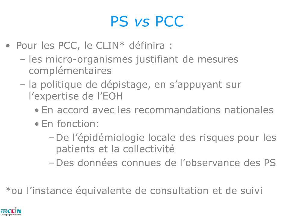 PS vs PCC Pour les PCC, le CLIN* définira :