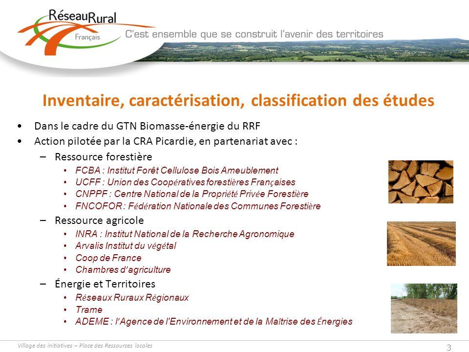Inventaire, caractérisation, classification des études
