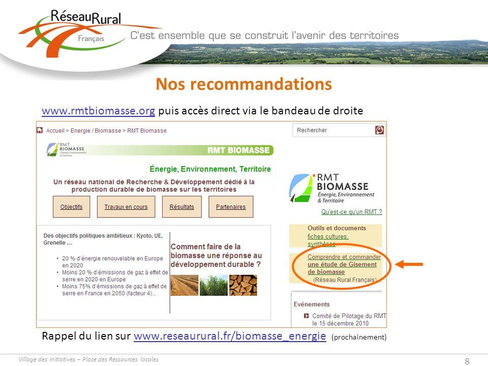 Nos recommandations www.rmtbiomasse.org puis accès direct via le bandeau de droite.