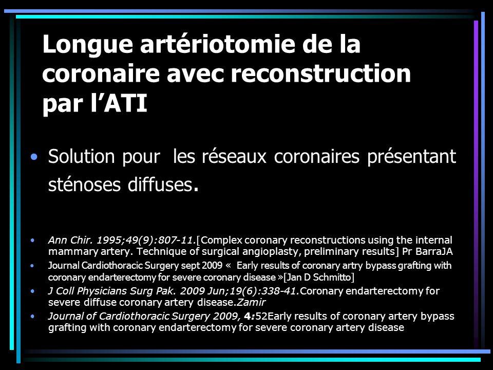 Longue artériotomie de la coronaire avec reconstruction par l'ATI