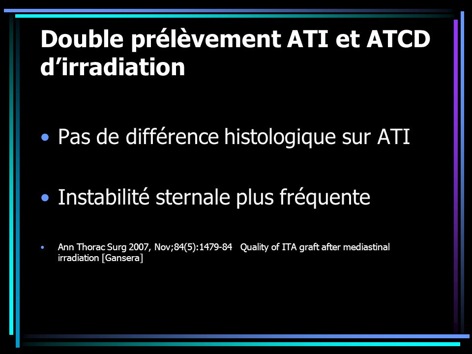 Double prélèvement ATI et ATCD d'irradiation