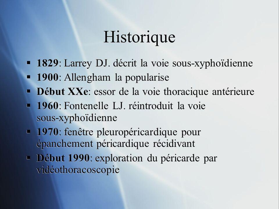 Historique 1829: Larrey DJ. décrit la voie sous-xyphoïdienne