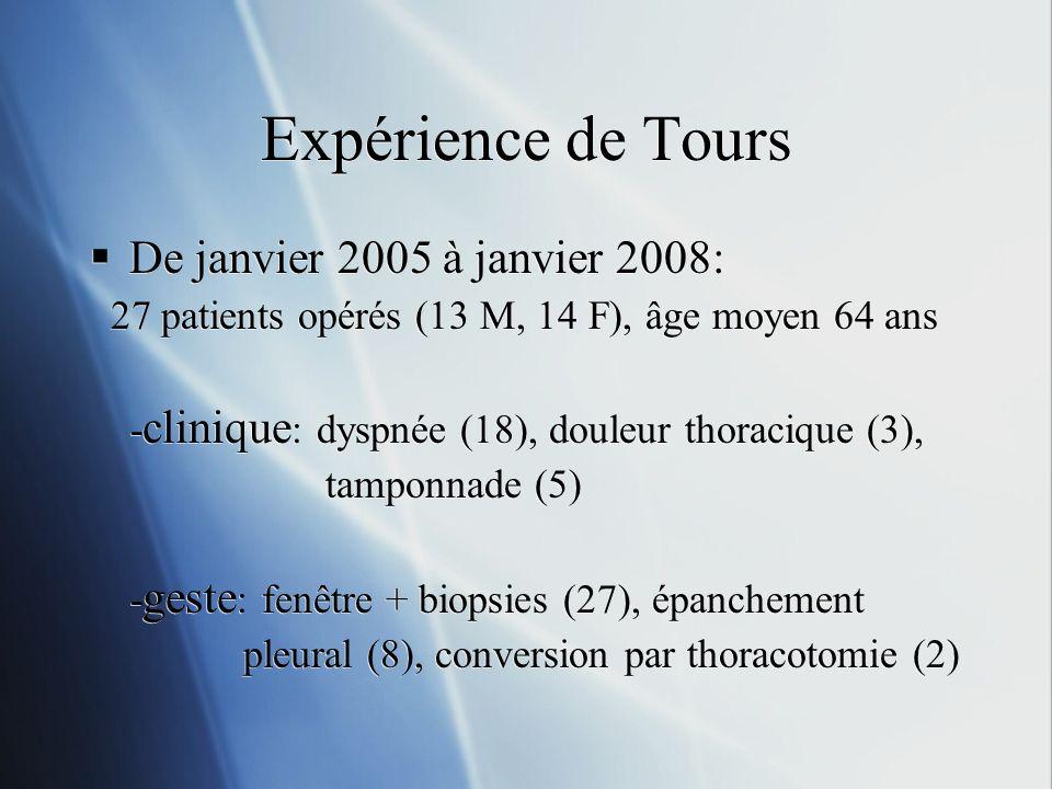 Expérience de Tours De janvier 2005 à janvier 2008:
